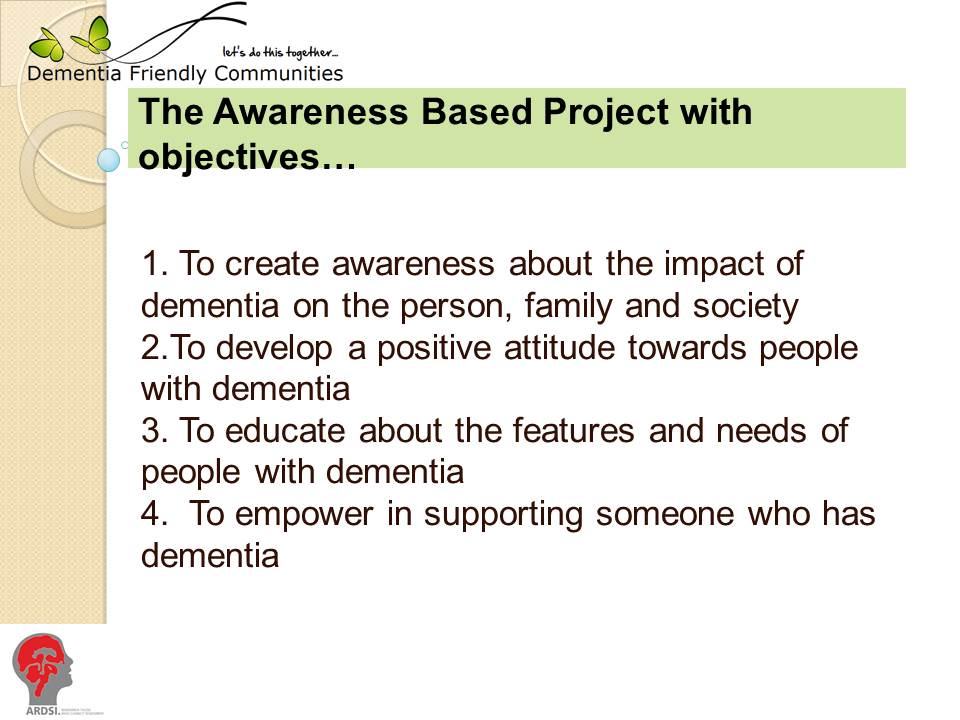 slide showing awareness project objectives