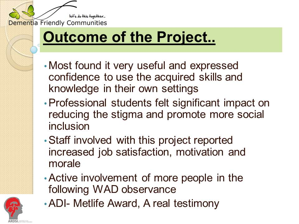 slide showing outcome of the dementia friendly project activities
