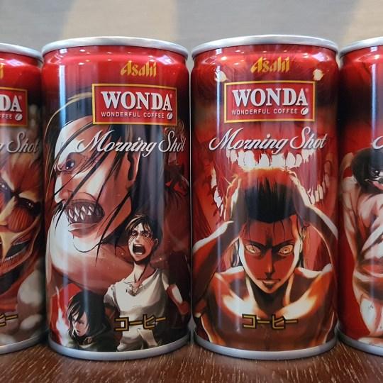 Wonda Coffee Morning Shot Attack on Titan Coffee Can Designs