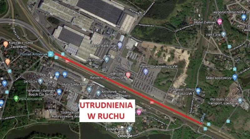 utrudnienia ul. Warszawskiej do Poznania