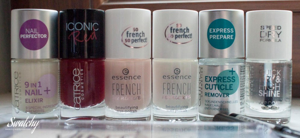 "6 nail products: ridge filling base, an ""iconic"" red, french pink and white, a cuticle remover and a top coat. No swatches yet."