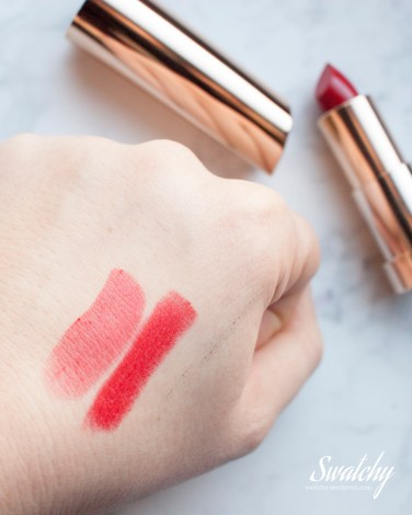 Yves Rocher Grand Rouge 31 Rouge Vif, one and two layers. That greyish line? yesterday I swatched Physician's Formula liquid eyeliner in the shop and I haven't been able to completely scrub it off! baby oil, lotion, micellar, soap, shower...