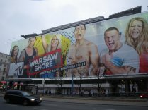 one of the many giant billboards in Warsaw