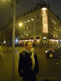 Laura walking the streets of Warsaw