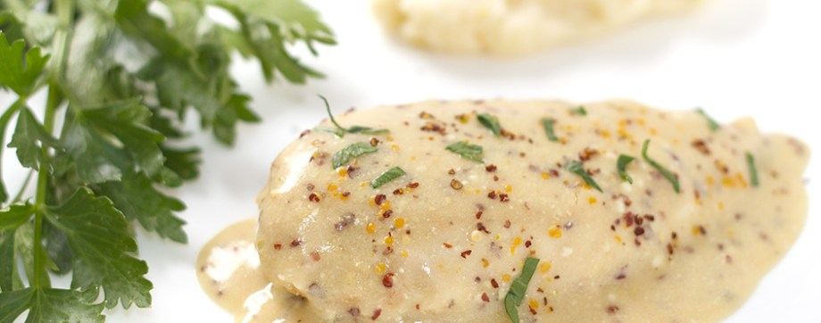 Velvet Chicken breast in mustard sauce