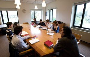 A great shot of the Sociology/Anthropology Seminar Room - with Professor Braulio Muñoz