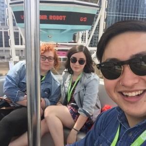 Myself with fellow Swatties Casey Schreiner '16 (left) and Allison Hrabar '16 (right) on the Mr. Robot ferris wheel!