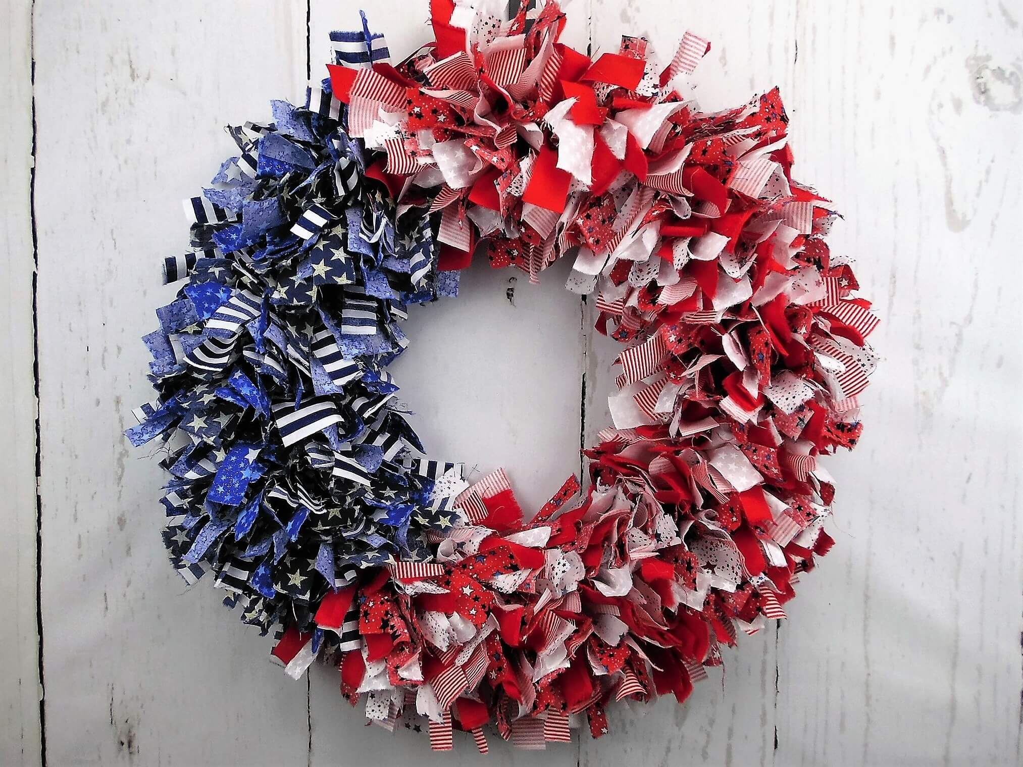 American Flag Rag Wreath Home Decor Wreaths Garland