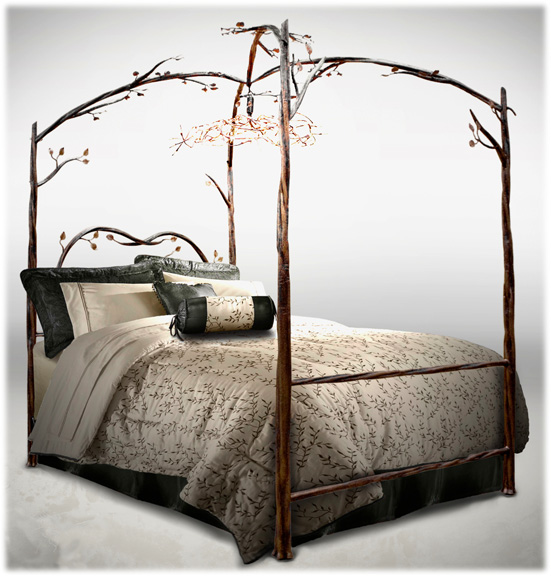 Enchanted Forest Decor Branch Four Post Bed with Leaf Light Fixture and  Bedding. Enchanted Forest Decor  Once Upon a Dream   FurnishMyWay Blog
