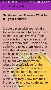 Purple Pocketbook App safety plan
