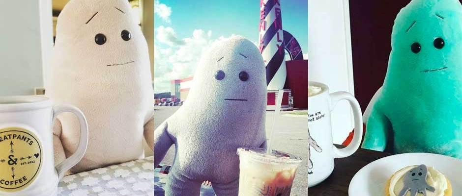 Anxiety Blobs Drinking Coffee