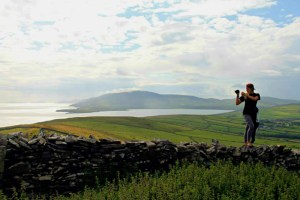 Sara Weaver photographing the Dingle Bay
