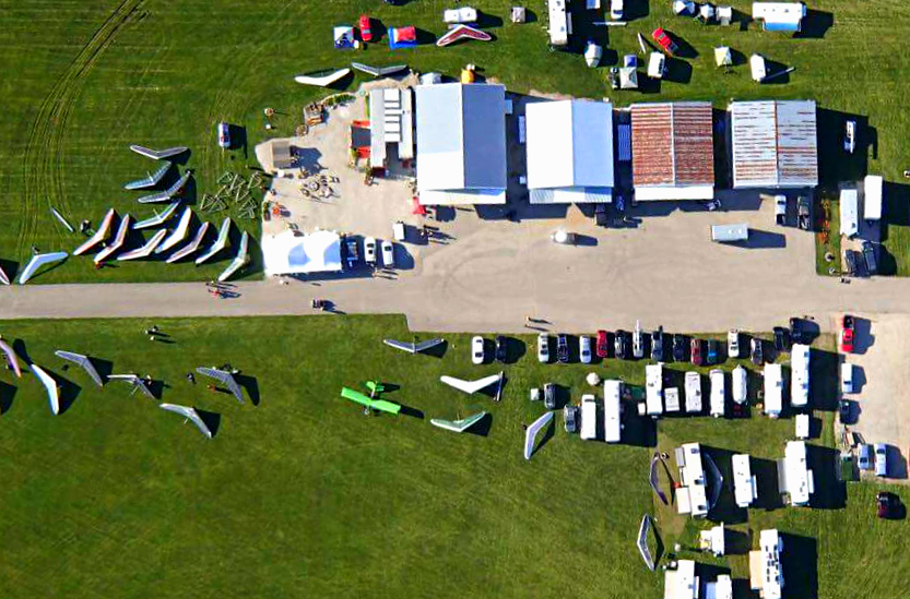 Aerial photograph of the Midwest 2017 headquarters at Twin Oaks Airport in Whitewater, Wisconsin. Photo posted to Facebook by Paul Olson, 2017.