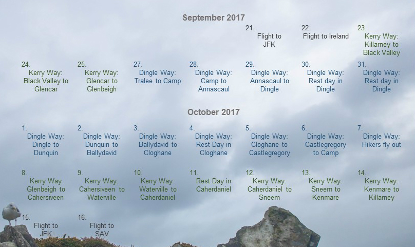 I visited Ireland from Sept. 21 to Oct. 16, 2017. I trail ran the Kerry Way for three days before meeting my hikers and guiding them on the Dingle Way for 12 days. I returned to the Kerry Way and finished it during my last week there. I spent 9 days running, 8 days backpacking and took 4 rest days, 3 of which were during the Dingle Way. Photo: Marat Usmanov, Oct. 2017. Calendar overlay by Sara Weaver.