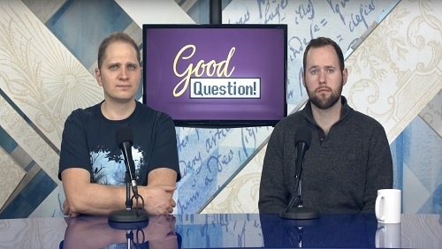 "Curtis and Chris sit at the anchor desk, a screen with the ""Good Question!"" logo between them."