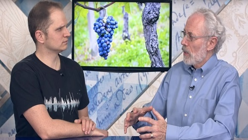 Curtis and Jonathan sit at the anchor desk, an image of blue-purple grapes on the vine behind them.