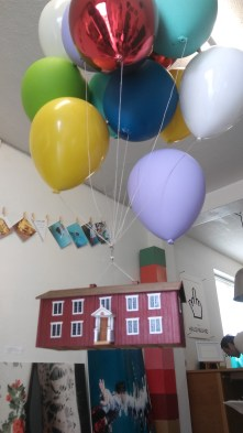 """This is a sculpture made to look like the house in the movie """"Up"""""""