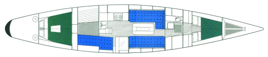 13 m Platz verteilt auf drei separate Kajüten © Swedesail