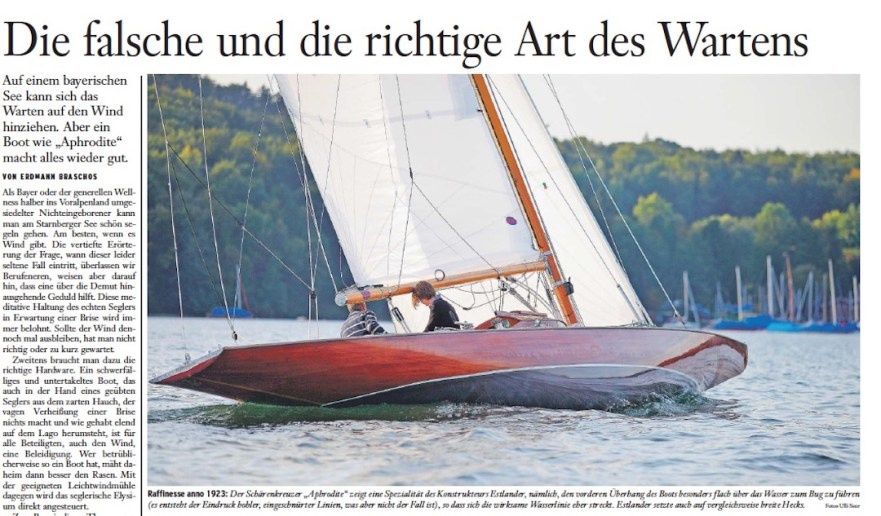 Article about a replica of an Estlander designed 40 sqm boat sailing on Starnberger See near Munich © Swedesail