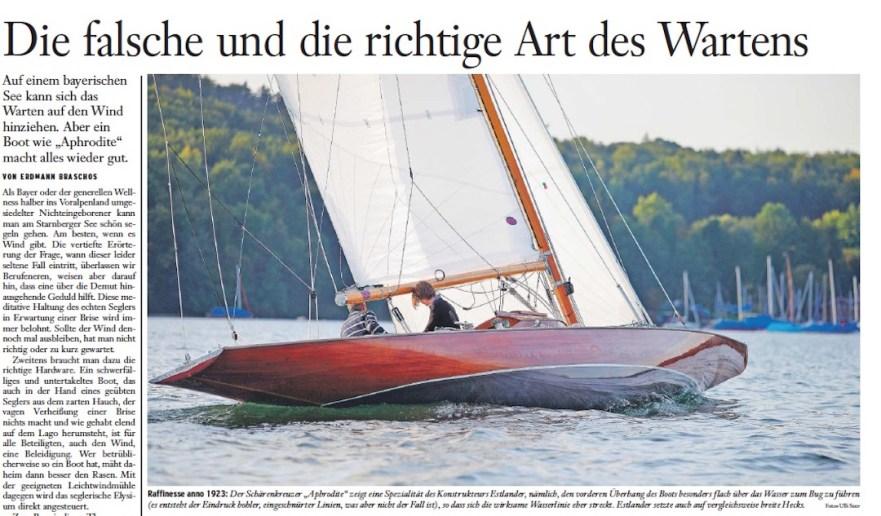 Artikel in der Frankfurter Allgemeinen Sonntagszeitung über die Replik einer 40 qm Estlander Schäre am Starnberger See