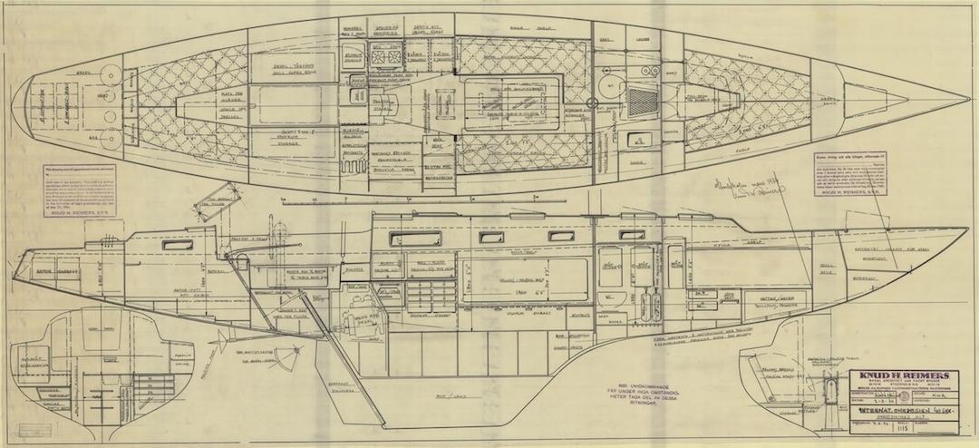 Entwurf einer 40 Qm Tourenschärenkreuzerklasse von Knud Reimers März 1974 © Sjöhistoriska Museet Stockholm