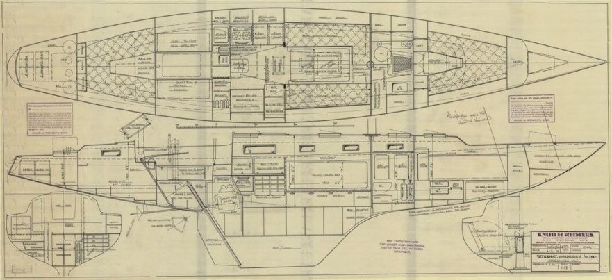 Accomodation of International Onedesign 40 Quaremetreboat by Knud Reimers dated March 1974 - Source SSHM Stockholm