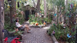 A charming, whimsical garden at a specialty shop.