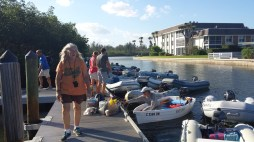 A very crowded dinghy dock at VBCM. That's me loading cargo.