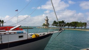 Safely moored in Boca Chita's tiny harbor.