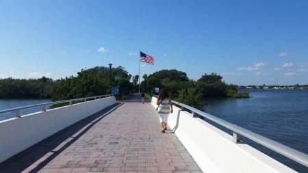 Dana walking toward Veterans Memorial Park.