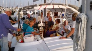 Here's a boat load of friends at our Bon Voyage party. We have never had so many people on the boat at one time!