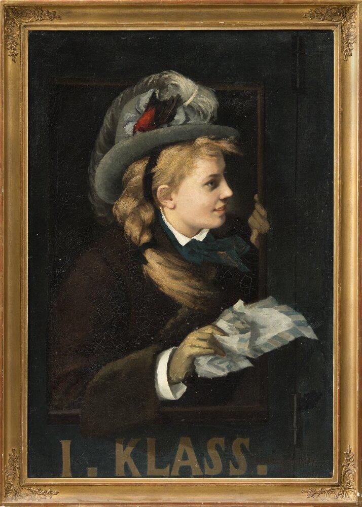 Woman in a train window