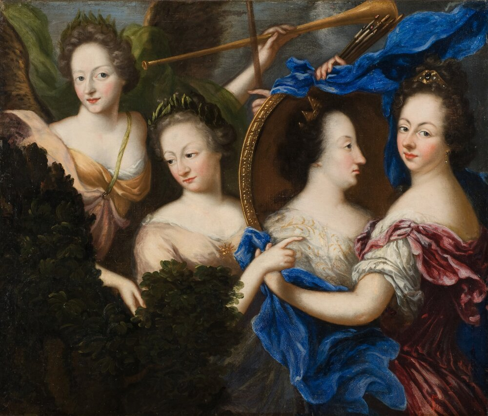 Allegory with self-portrait and profile portrait