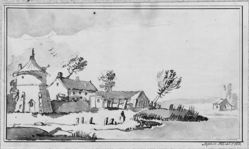 Landscape with houses and water