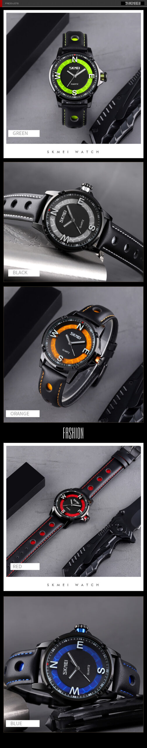 Men's Watch Black Leather Band 2