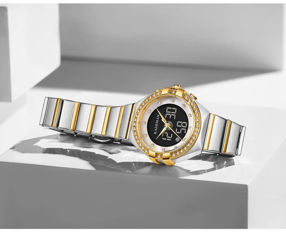 Analog Watch With Digital Display For Lady 3