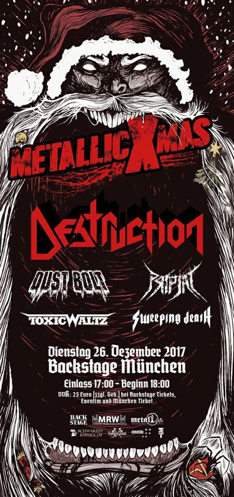 Flyer Metallic X-Mas Backstage Destruction Pripjat Toxic Waltz Munich