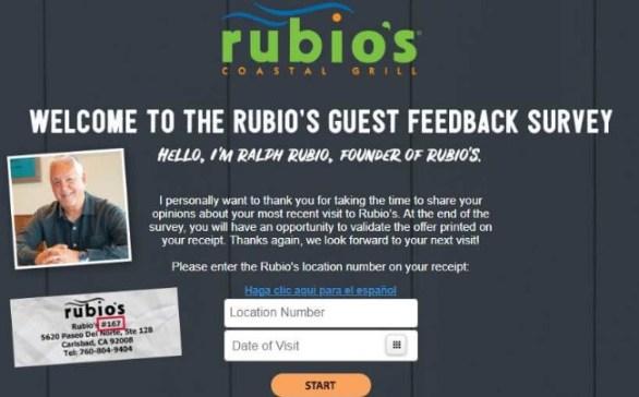 Rubio's Coupon Survey Feedback