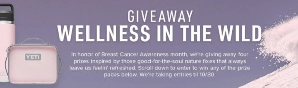 YETI Wellness In The Wild Sweepstakes