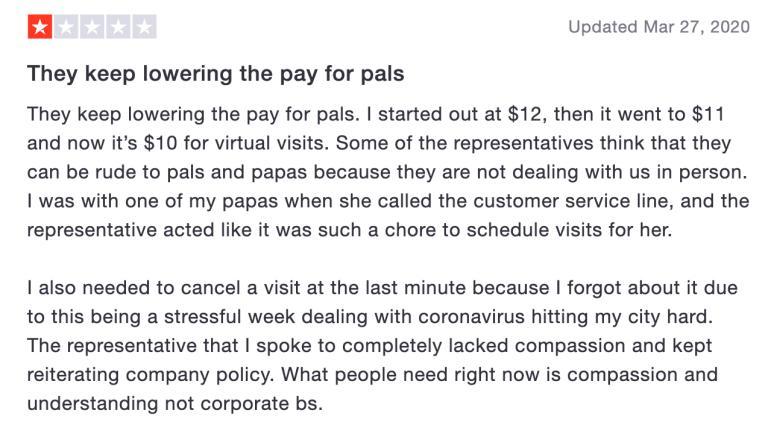 un feedback donné par un papa pal sur le service chez papa
