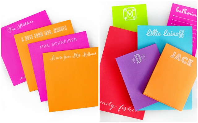 spice up any desk with bright custom notepads! white ink pops on vibrant paper colors