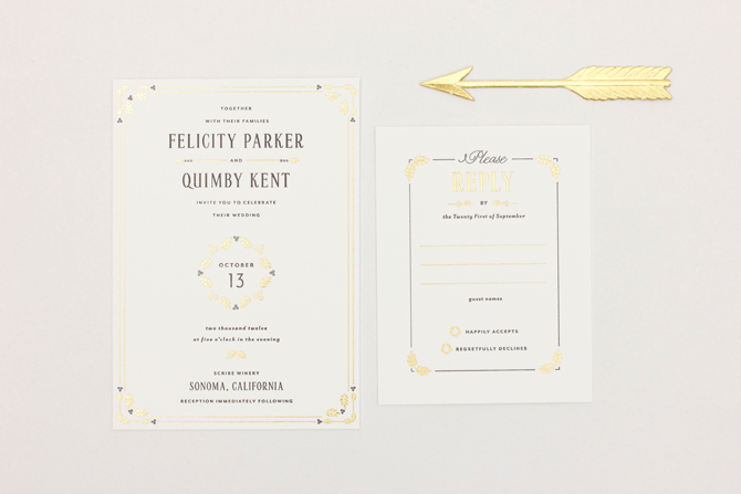 black letterpress and gold foil wedding invitation by MaeMae Paperie