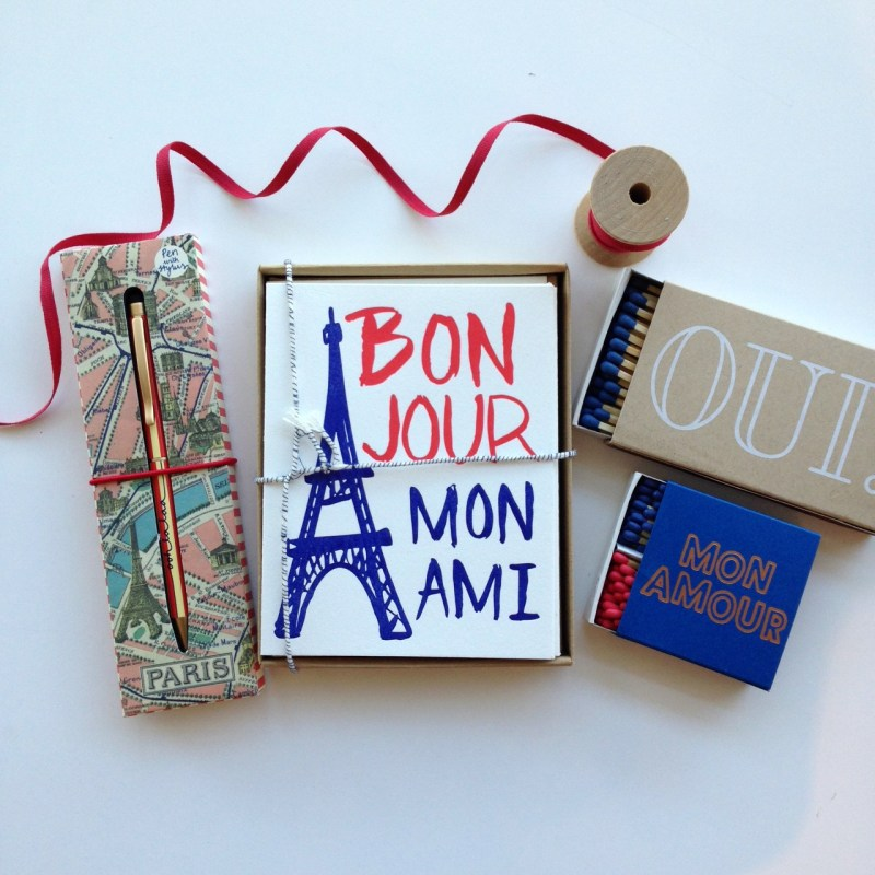 Paris Pen by Wild and Wolf, Bonjour Mon Ami Stationery by 9th Letterpress, Oui! Matches and Mon Amour Matches by The Social Type