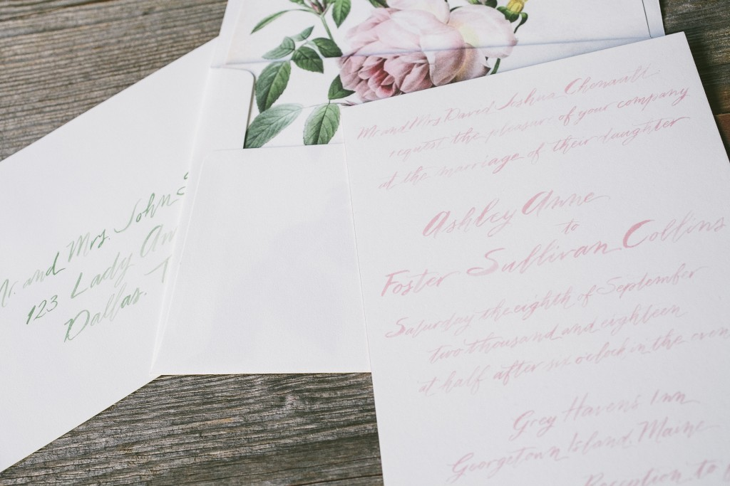 Brush Calligraphy pairs perfectly with a Romantic Envelope Liner