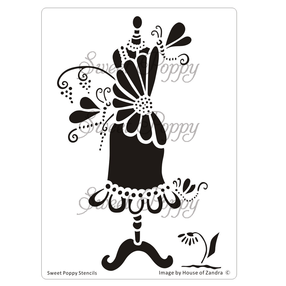 Sweet Poppy Stencil: Dress 5 – Daisy