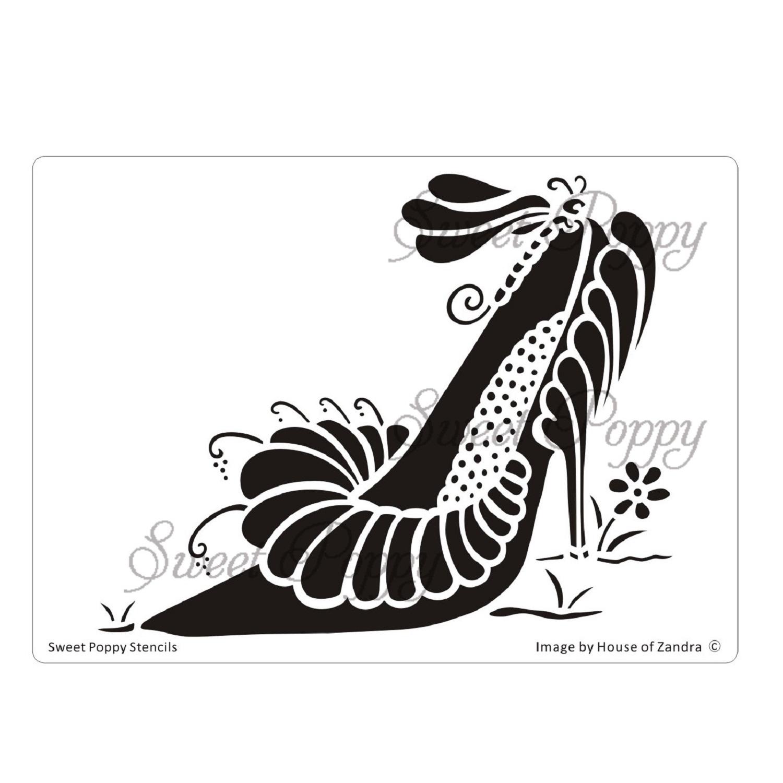Sweet Poppy Stencil: Shoe 6