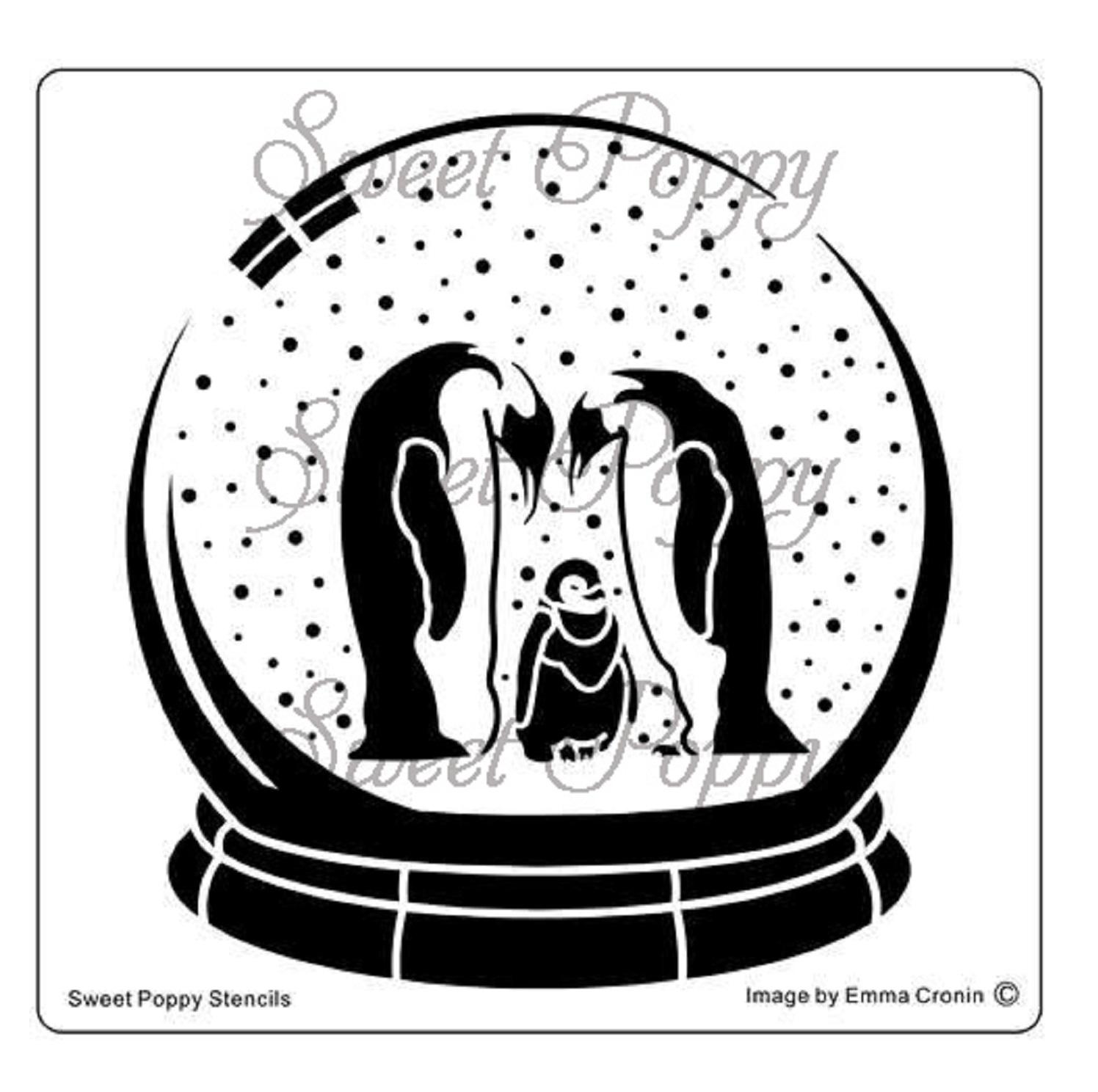 Sweet Poppy Stencil: Snow Globe – Penguin family