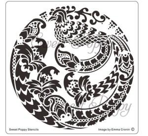 Sweet Poppy Stencil: Oriental Bird