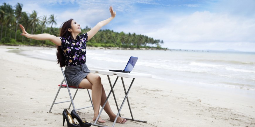 Happy asian businesswoman working outdoor