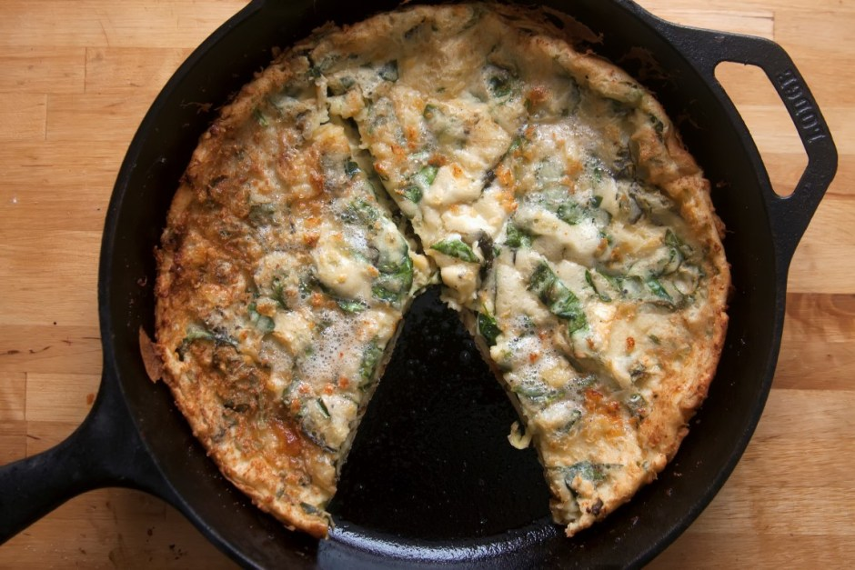 Savory Cheesy Spinach and Basil Dutch Baby - Sweet and Savoring